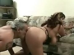 Fat lady with big tits in threesome