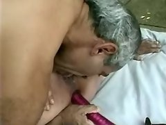 Older man drilling magnificent lady