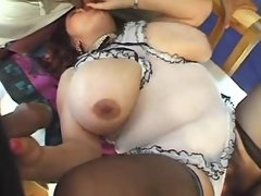 Chubby woman gets cum in groupsex