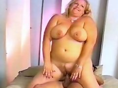 Blonde fatty fucked and gets cum