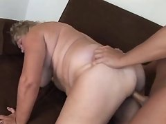 Fat granny gets cumload in paunch