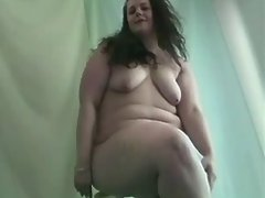 Lustful fatty masturbates on floor