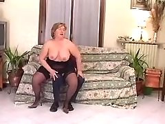 Chubby whore greedily sucks cock